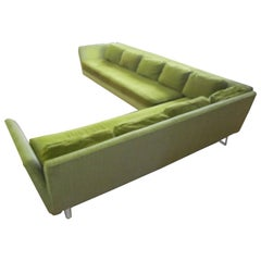 Rare Wormley Dunbar Style Open-Arm Two-Piece Sectional Sofa Lucite Legs