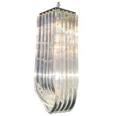 Monumental Lucite Loop Ribbon Chandelier