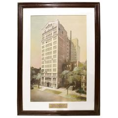 Framed Watercolor Presentation Rendering of the Hotel Claridge
