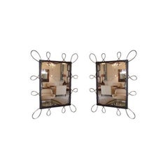 Pair of Scrolled Iron Mirrors