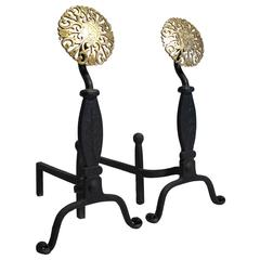 Virginia Metal Crafters Iron and Brass Medallion Decorative Andirons