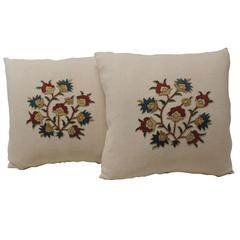 Pair of 19th Century Persian Applique Linen Pillows