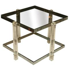 Lucite and Chrome Table, Charles Hollis Jones Style