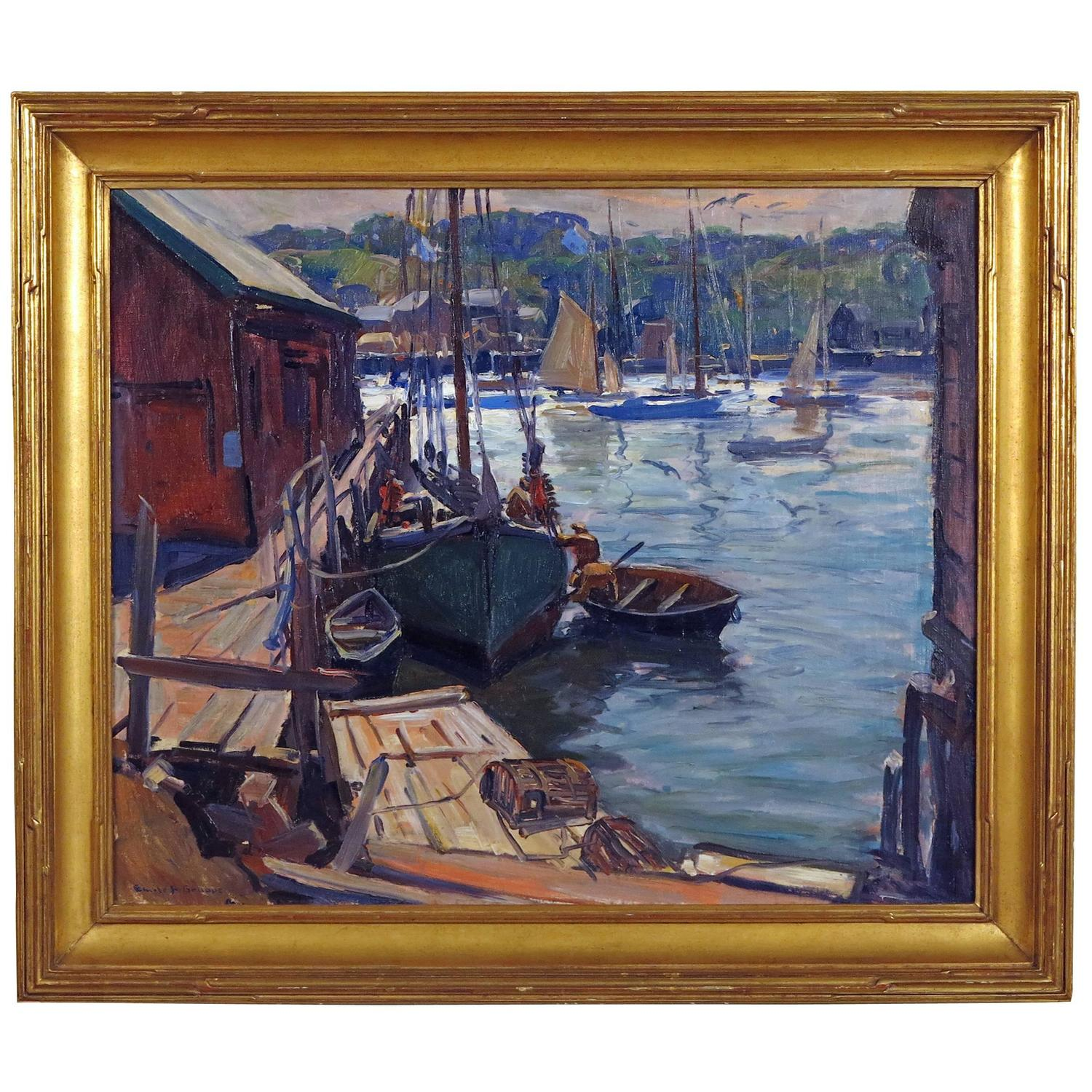 Early Morning Gloucester Painting By Emile Gruppe At 1stdibs