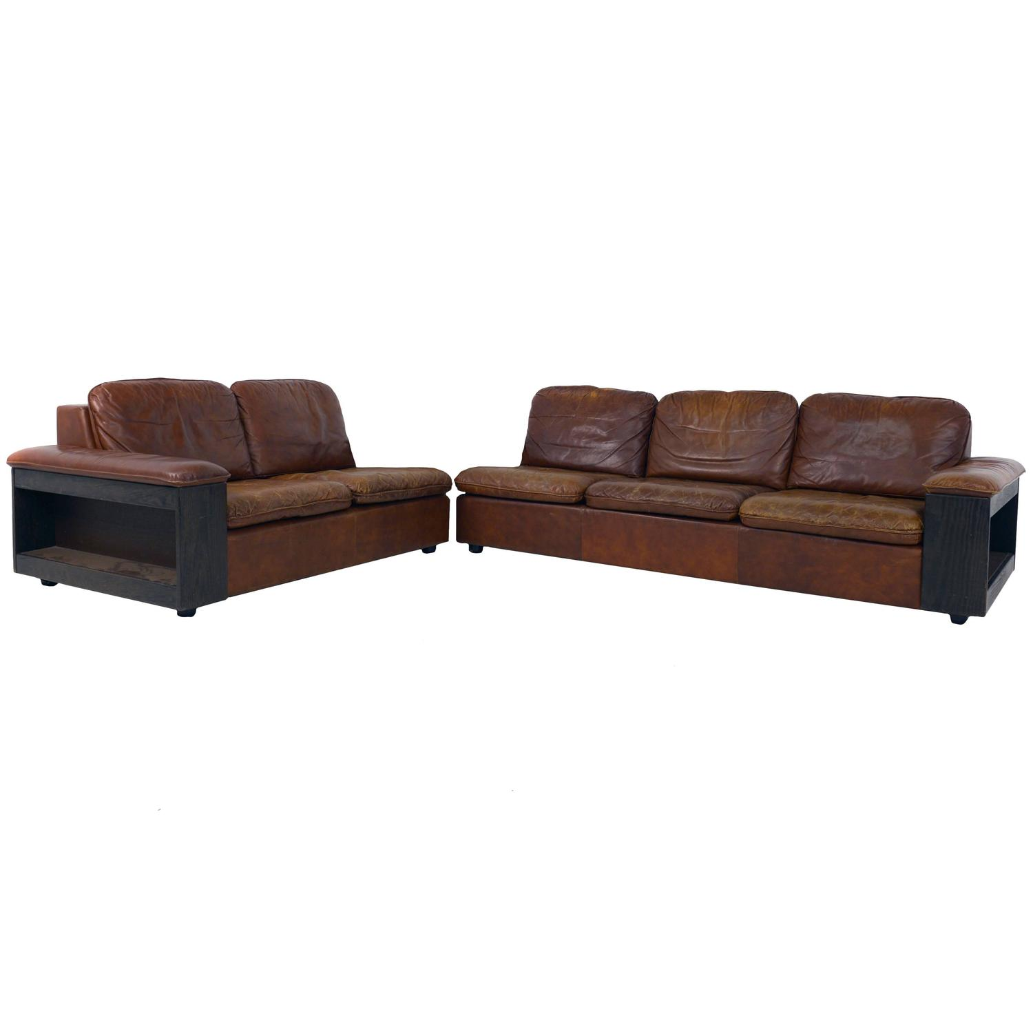 Cool Leather Sofa With Bookcase In The Back, Two Parts For