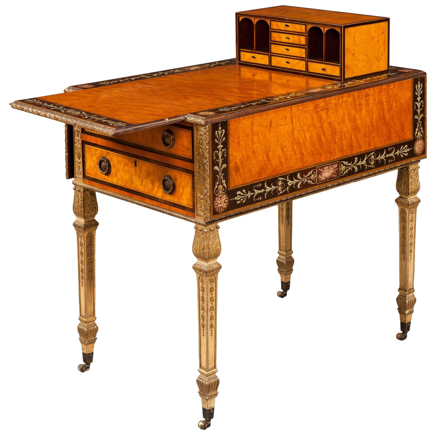 English Satinwood And Painted Neoclassical Style Drop Leaf Pembroke Table  At 1stdibs