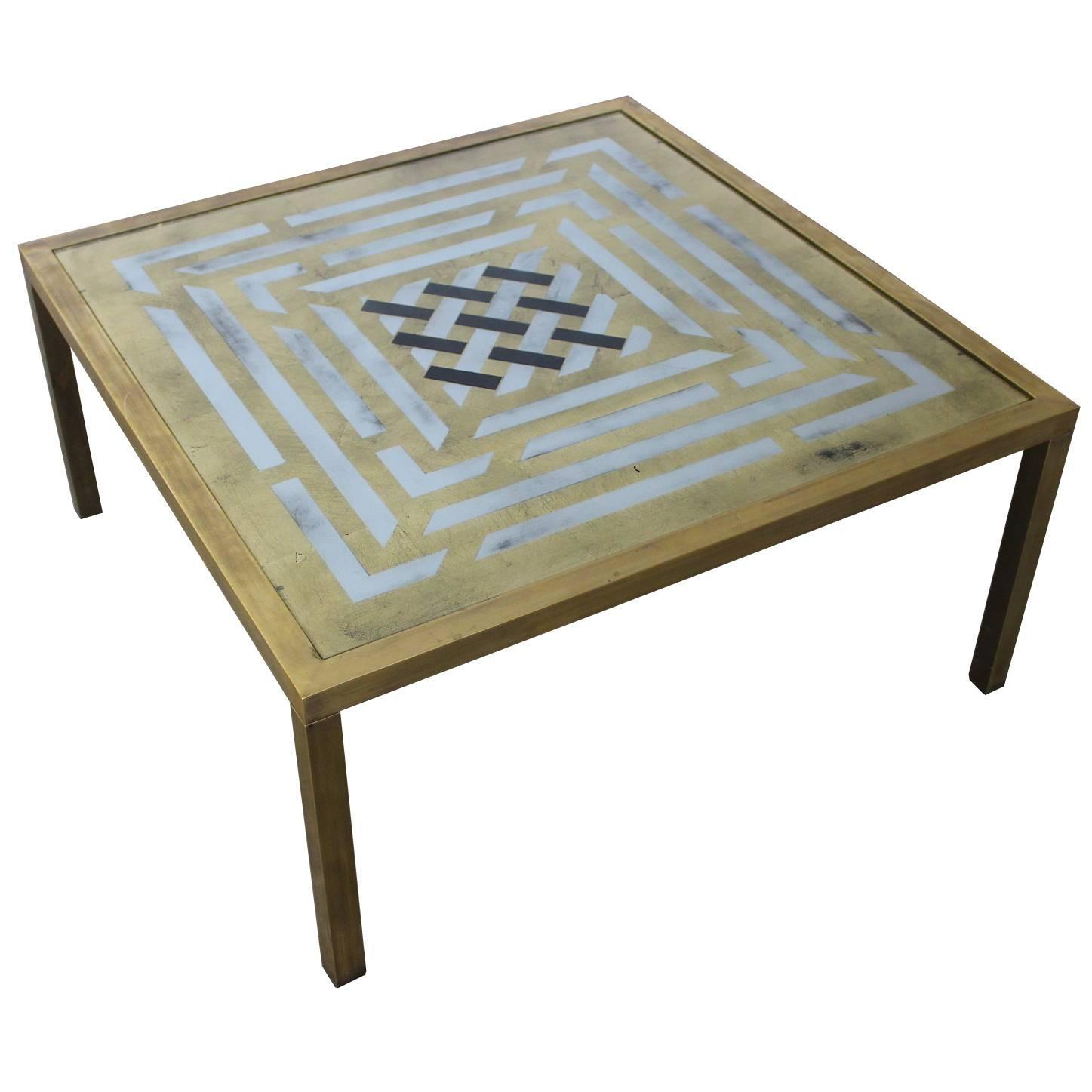 Brass Coffee Table With Art Work Painted Glass Top For