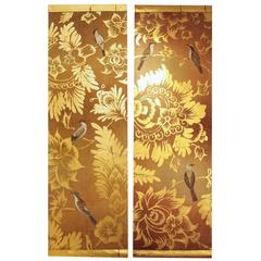 Contemporary Pair of Handmade Paintings on Natural Linen with Gilt Decor