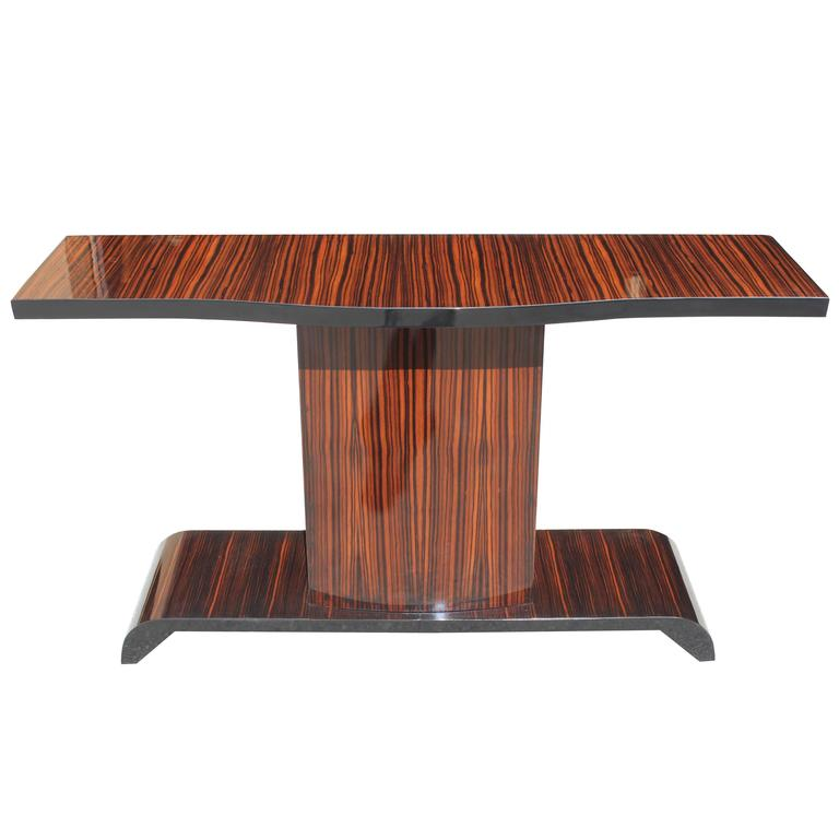 Majestic French Art Deco Exotic Macassar Ebony Console Table, circa 1940s
