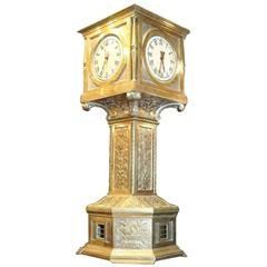 Important Art Deco Period Tall Bronze Clock with Four Time Zones