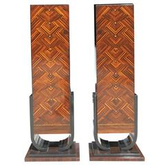 Pair of French Art Deco Exotic Macassar Ebony Pedestals, M-O-P Accents, 1940s
