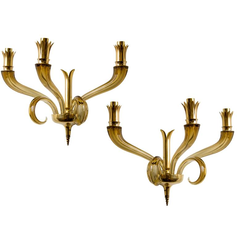Pair of Amber Murano Sconces in the Style of Venini