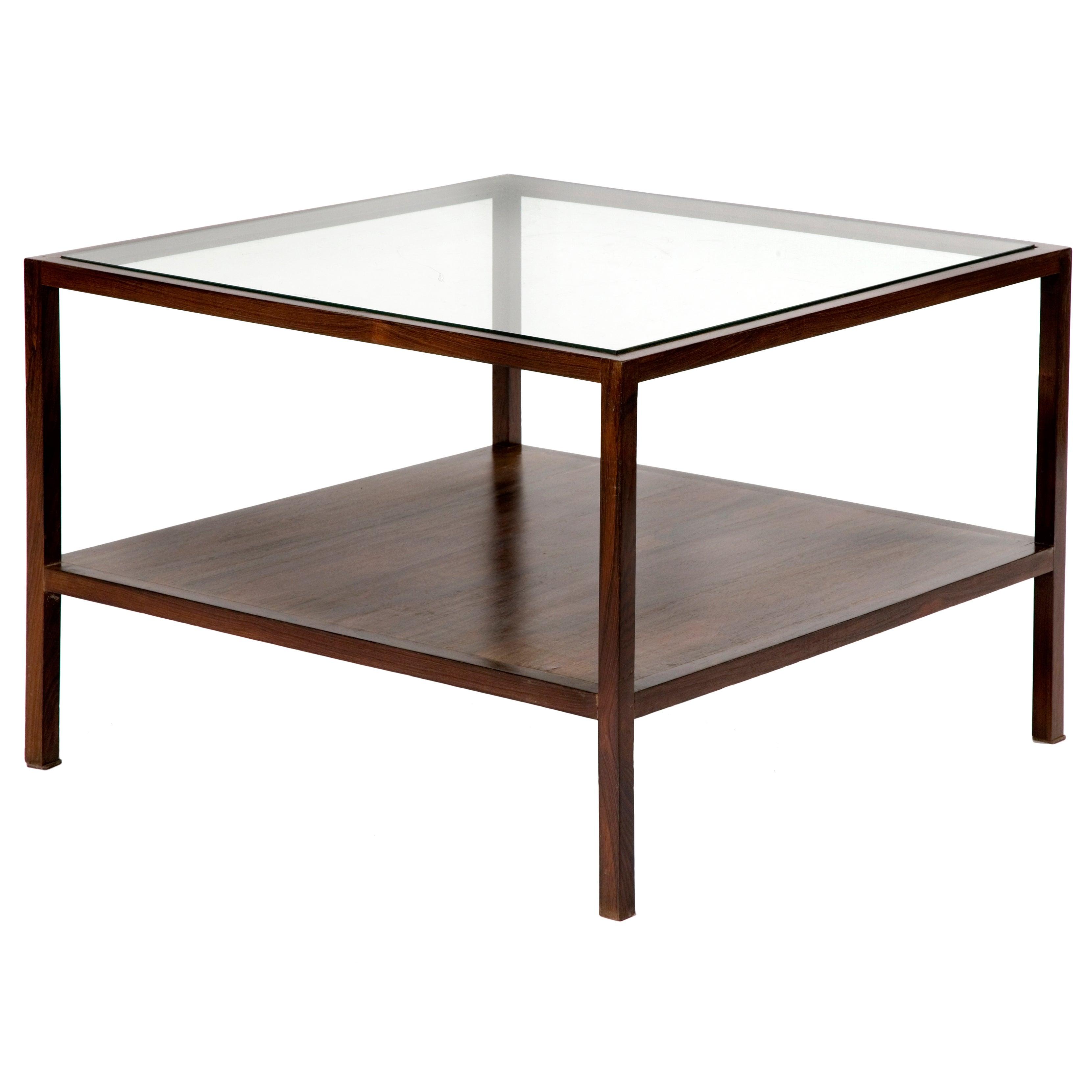 Square Coffee Table in Jacaranda with Glass Top by Joaquim Tenreiro, 1954