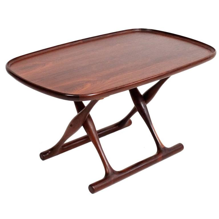 Poul Hundevad Rosewood Table and Folding Leather Stool For Sale