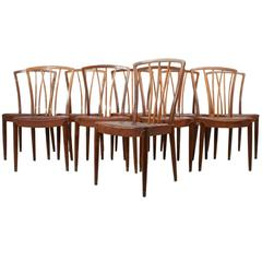 Set of Ten Leather Dining Chairs
