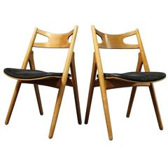 "Pair of ""Sawbench"" Dining Room Chairs by Hans J. Wegner, Model CH29, circa 1960s"