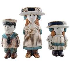 "Gustavsberg Lisa Larsson Pottery, Three Child Figures ""Sweden"""