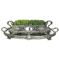 Silvered Bronze Centerpiece and Mirrored Plateau