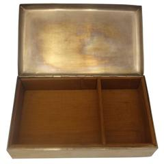 Cartier Sterling Silver Cigarette Box Wood Lined Hollowware