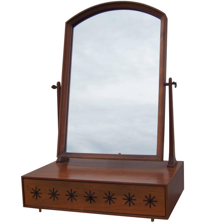 Walnut Tabletop Vanity Mirror By Kipp Stewart For Directional