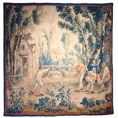 "18th Century French Aubusson Tapestry Called ""Le Saute-Mouton"""