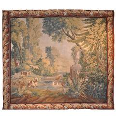 Large 18th Century French Aubusson Pastoral Tapestry with Original Border
