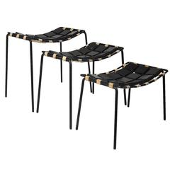Maxwell Yellen Iron and Wood Set of Stacking Stools