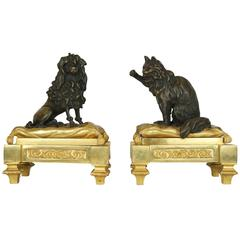 Large Pair of Bronze Dog and Cat Figural Fireplace Chenets