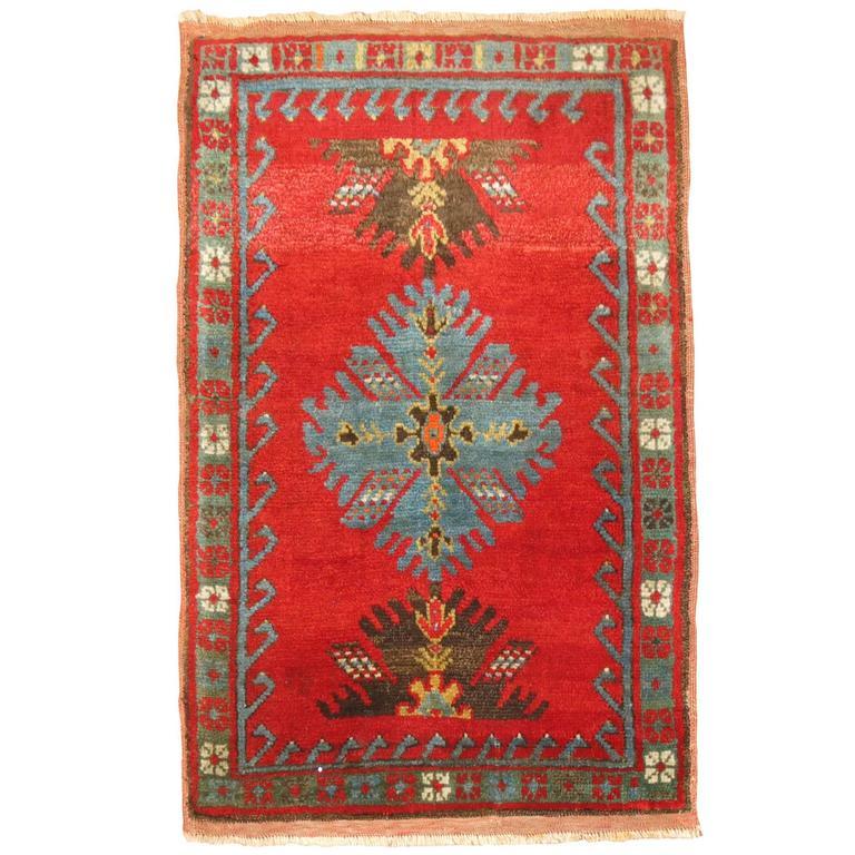 Turkish Yastik Rug: Antique Turkish Yastik Oushak Rug Mat For Sale At 1stdibs