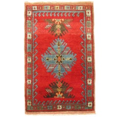 Antique Turkish Yastik Oushak Rug Mat