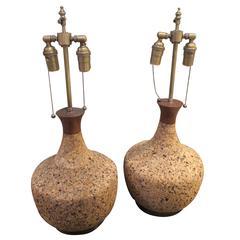 Pair of American 1970s Cork Lamps