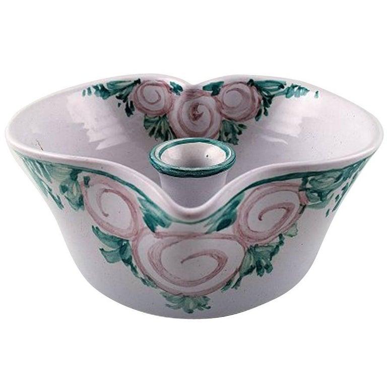 Bjorn Wiinblad Unique Ceramics Candlestick, Pink and Green Glaze, 1988 For Sale