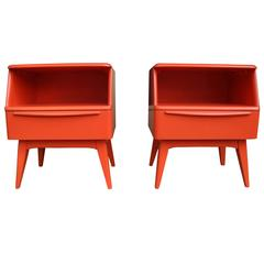 Red Mid-Century Modern Nightstands, Bedside Tables by Heywood-Wakefield, 1950s
