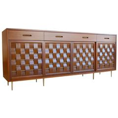 Exceptional Mahogany and Brass Basketweave Credenza by Edward Wormley