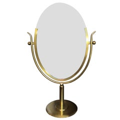 "Rare ""Wishbone"" Vanity Mirror in Brass by Charles Hollis Jones"