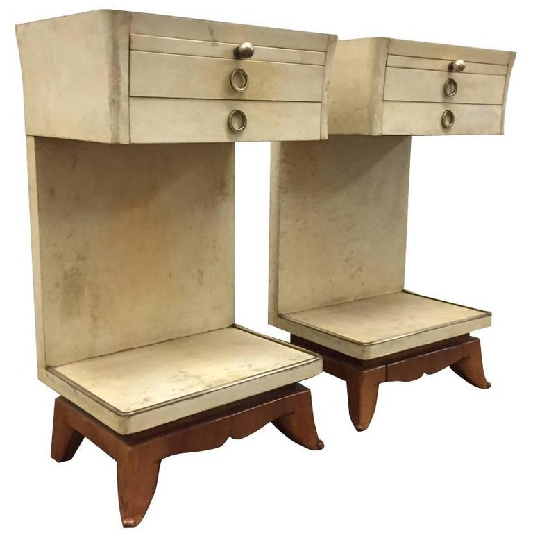 Pair of Parchment Nightstands Manner of Osvaldo Borsani For Sale