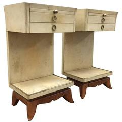Pair of Parchment Nightstands Manner of Osvaldo Borsani