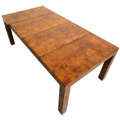 Beautiful Milo Baughman Parsons Style Burl Wood Dining Table