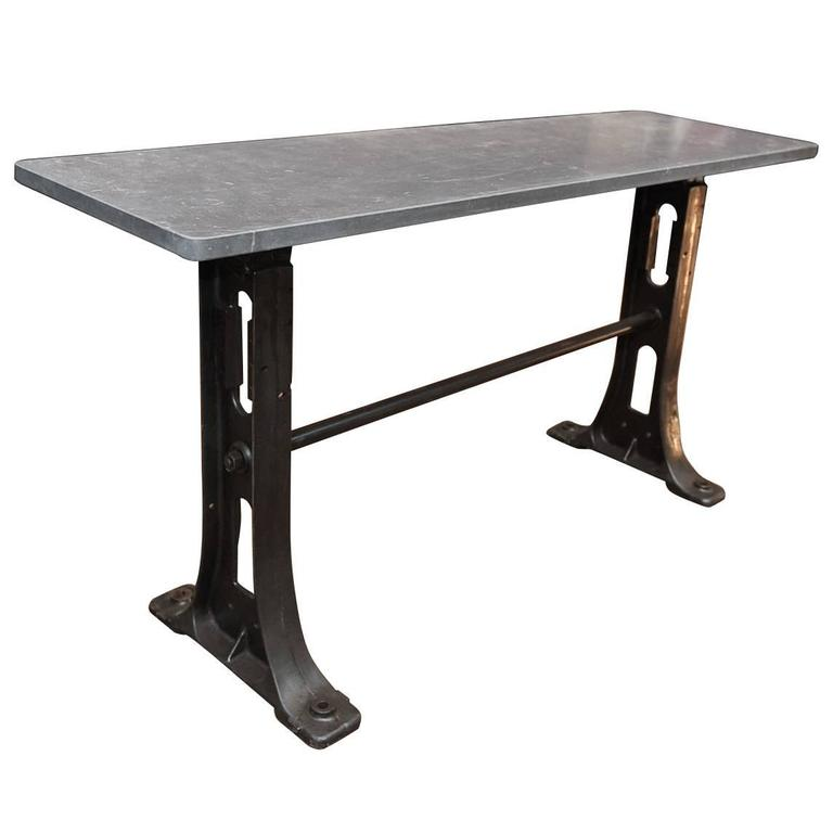 1900s Cast Iron Industrial Console Table Bluestone Top