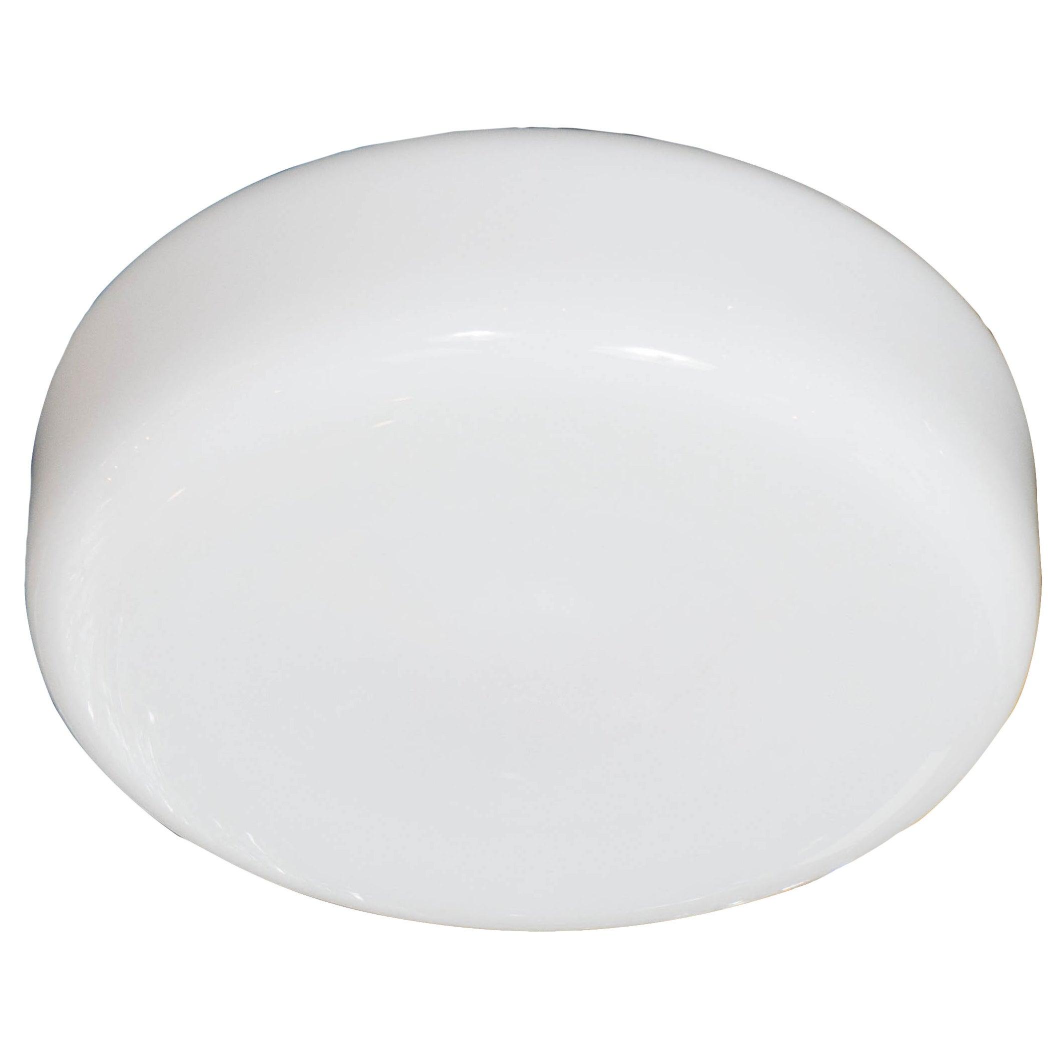 Mid-Century Modernist Milk Glass Flush Mount Chandelier