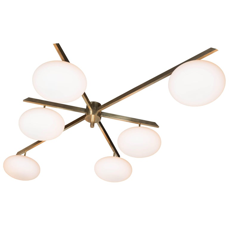Modernist Brass and Frosted Glass Six-Arm Globe Chandelier, Manner of Arredoluce