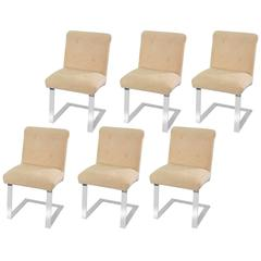 Set of Six Rare Cantilevered Chairs with Chrome Bases by Paul Evans