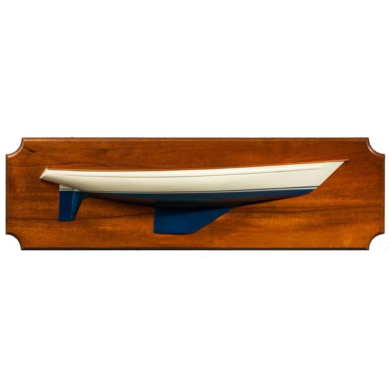 Shipbuilder's Half-Block Model of Classic 1960s Yacht