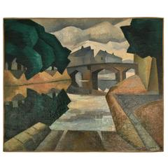 Art Deco Cubist Scenic Oil Painting, Signed Julien Lacrois, France, circa 1930