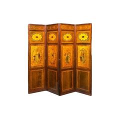 Late Victorian Mahogany and Satinwood Inlaid Four Fold Drafts Screen, Attributed