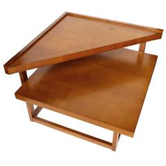 Midcentury Mahogany Tiered Corner Table by Brown-Saltman