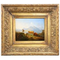 German Mountain Landscape Painting of Cattle and Sheep, 19th Century