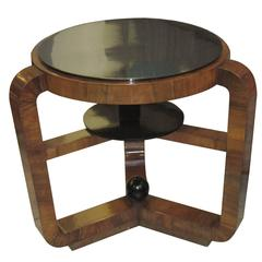 French Art Deco Macassar Ebony Table With Ebonized Top
