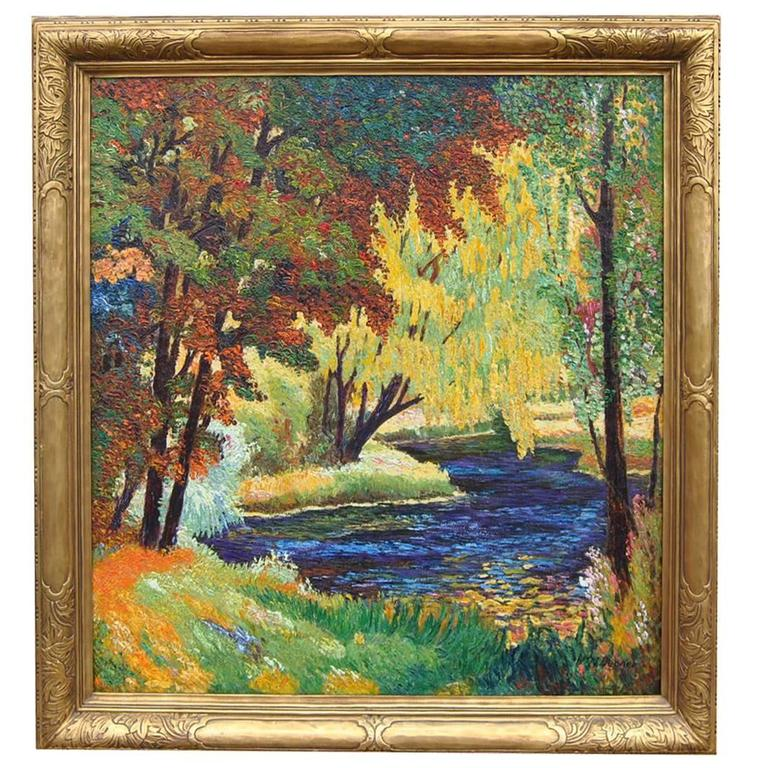Impressionistic Landscape Oil on Canvas by W.M. Becker in Newcomb Macklin Frame For Sale