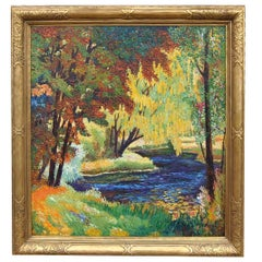 Impressionistic Landscape Oil on Canvas by W.M. Becker in Newcomb Macklin Frame